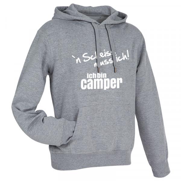 `n Scheiß muss ich! Ich bin Camper-- Herren-Camping-Hoody Grau/S/Weiß
