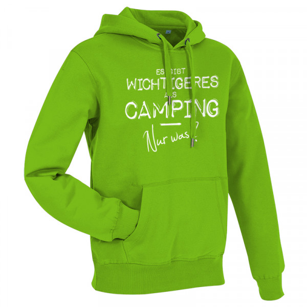 Es gibt wichtigeres als CAMPING, nur was? - Herren-Camping-Hoody-Grün/Weiß