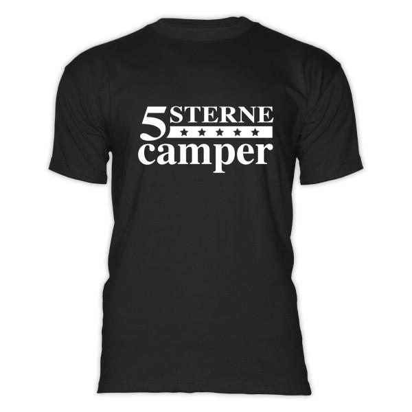 5 STERNE CAMPER - Herren-Camping - T-Shirt - Schwarz - Weiss