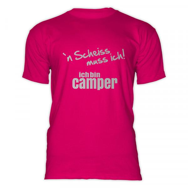 `n Scheiß muss ich! Ich bin Camper-- Herren-Camping-T-Shirt-Schwarz / Silber