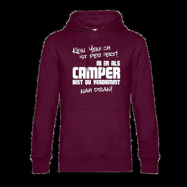 Kein Mensch ist perfekt - Unser Hoodie für Camper ist die ideale Camping Kleidung. Unsere Hoodies eignen sich für Wohnmobil, Wohnwagen oder Dauercamper. Ideal auch als Geschenk für Camper.