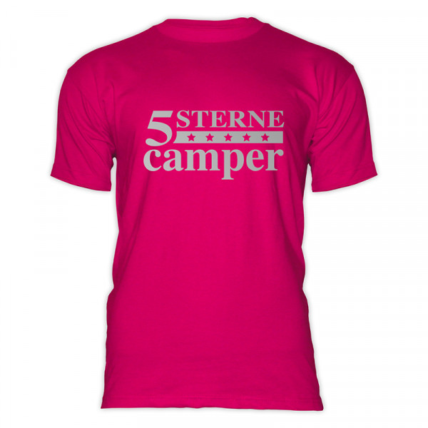 5 STERNE CAMPER - Herren-Camping - T-Shirt - Pink - Silber