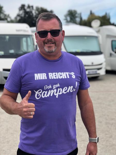 MIR REICHT´S! - Herren-Camping-T-Shirt-Lila-Weiß