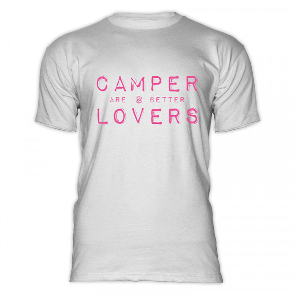 CAMPER are better LOVERS- Herren-Camping-T-Shirt Weiß/Pink