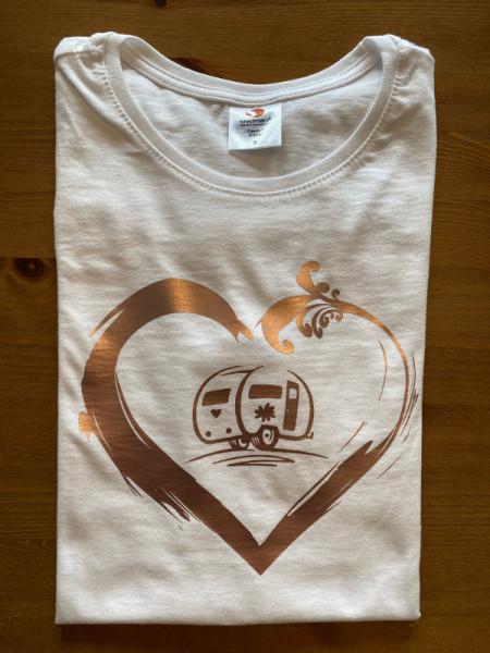 Wohnwagen-Camper mit Herz / Damen Camping-T-Shirt, Weiß / Kupfer