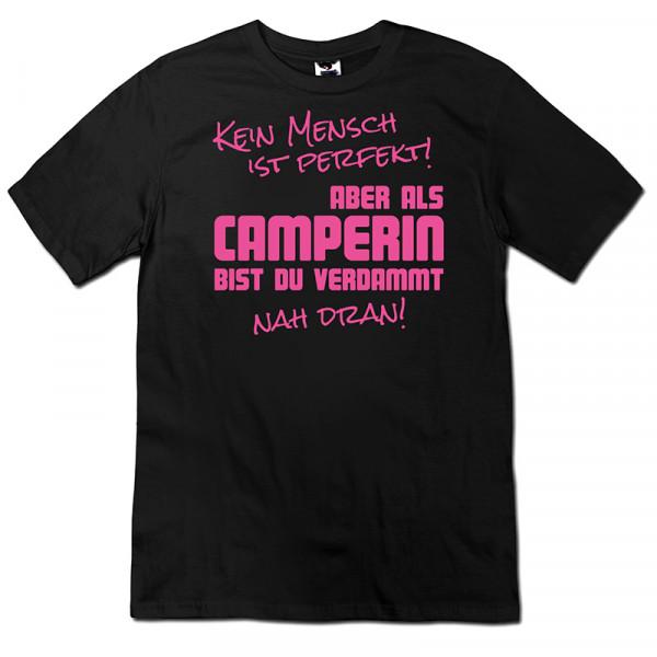 Kein Mensch ist Perfekt- Damen Camping T-Shirt - Schwarz - Pink