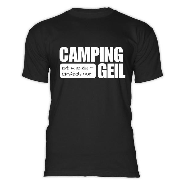 CAMPING ist GEIL - Herren - Herren-Camping-T-Shirt-Schwarz-Weiß