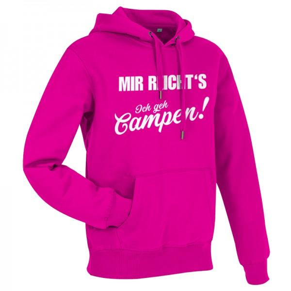 MIR REICHT´S! - Ich geh Campen - Damen-Camping-Hoody Pink/Weiss