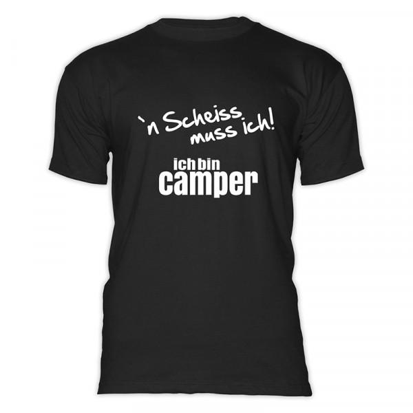 `n Scheiß muss ich! Ich bin Camper-- Herren-Camping-T-Shirt-Rot-Weiß