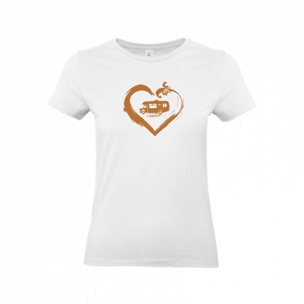 Wohnmobil Camperin mit Herz (Kupfer) - Camping T-Shirt für Frauen