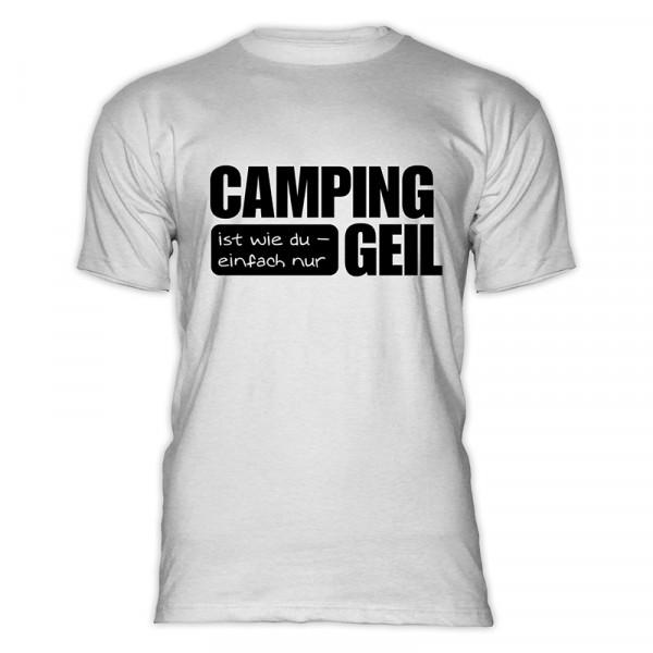 CAMPING ist GEIL - Herren - Herren-Camping-T-Shirt-Weiß-Schwarz
