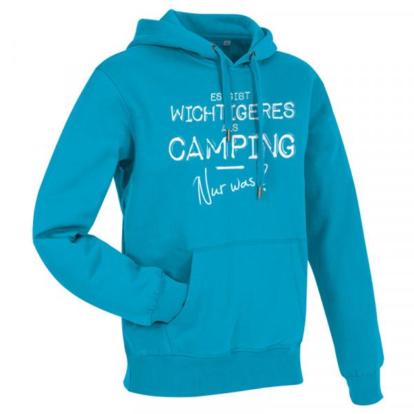 Es gibt wichtigeres als CAMPING, nur was? - Herren-Camping-Hoody-Blau/Weiß
