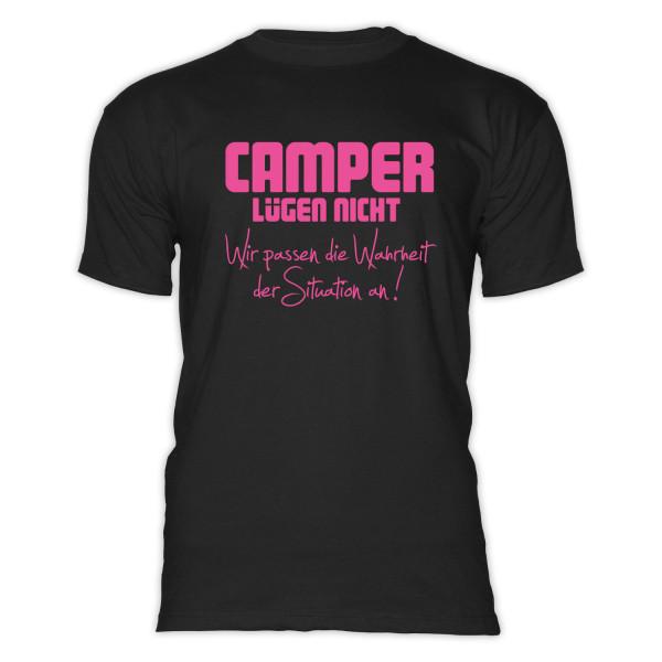 CAMPER LÜGEN NICHT - Herren-Camping-T-Shirt-Schwarz-Pink