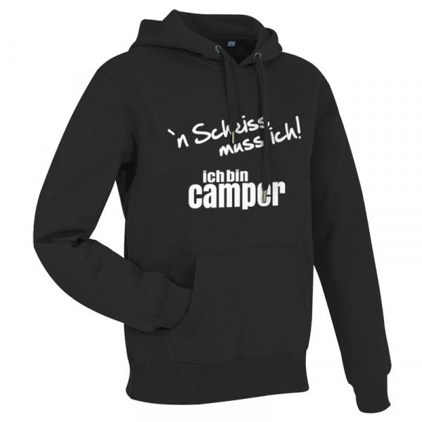 `n Scheiß muss ich! Ich bin Camper-- Herren-Camping-Hoody Schwarz/Weiß