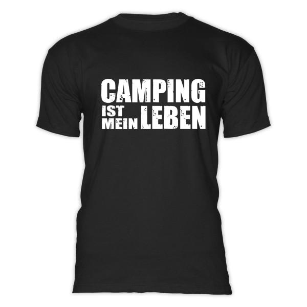 Camping ist mein Leben - Herren - Camping - T-Shirt - Schwarz - Weiß