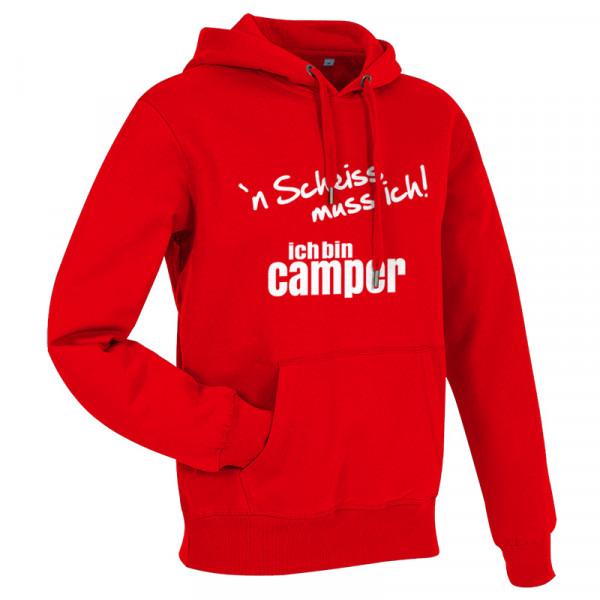 `n Scheiß muss ich! Ich bin Camper-- Herren-Camping-Hoody Rot/Weiß