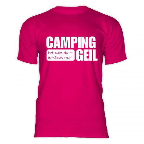 CAMPING ist GEIL - Herren - Herren-Camping-T-Shirt-Pink-Weiß