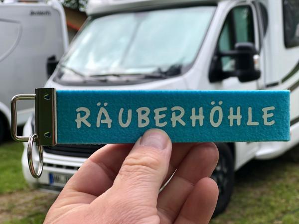 Camping Schlüsselanhänger - Räuberhöhle - Blau