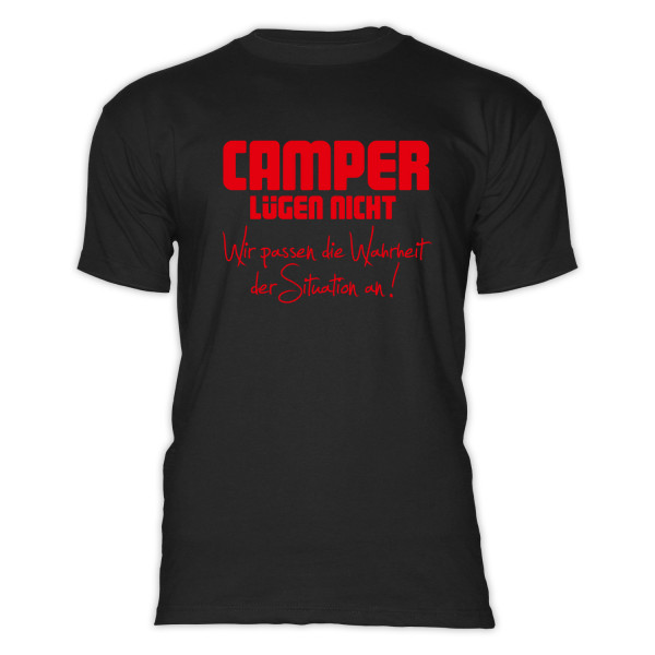CAMPER LÜGEN NICHT - Herren-Camping-T-Shirt-Schwarz-Rot
