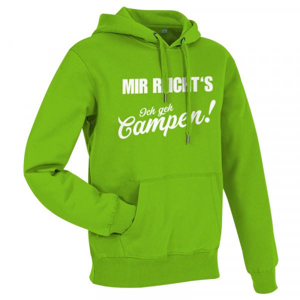 MIR REICHT´S! - Ich geh Campen - Herren-Camping-Hoodie Grün/Weiß