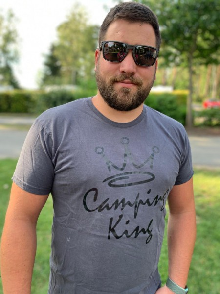 Camping King - Herren-Camping-T-Shirt-Dark Gray / Weiß