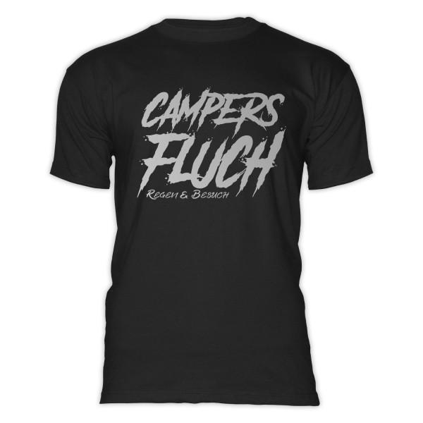 CAMPERS FLUCH- Regen und Besuch - Herren-Camping-T-Shirt-Schwarz-Silber