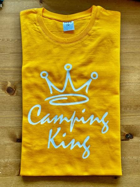 Camping King - Herren-Camping-T-Shirt-Apricot-Weiß
