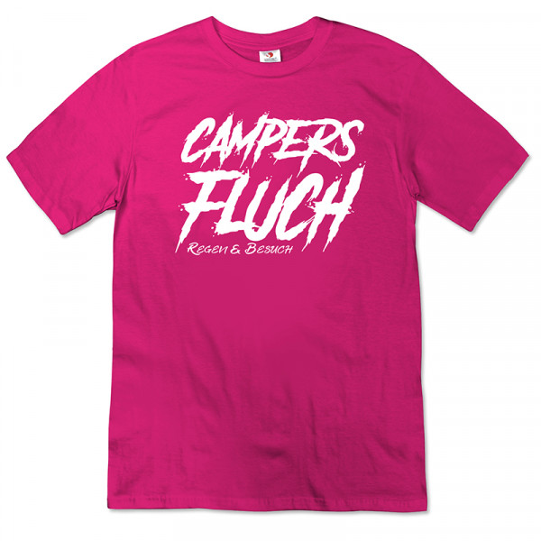Campers Fluch, Regen und Besuch - Damen - T-Shirt - Pink - Weiß