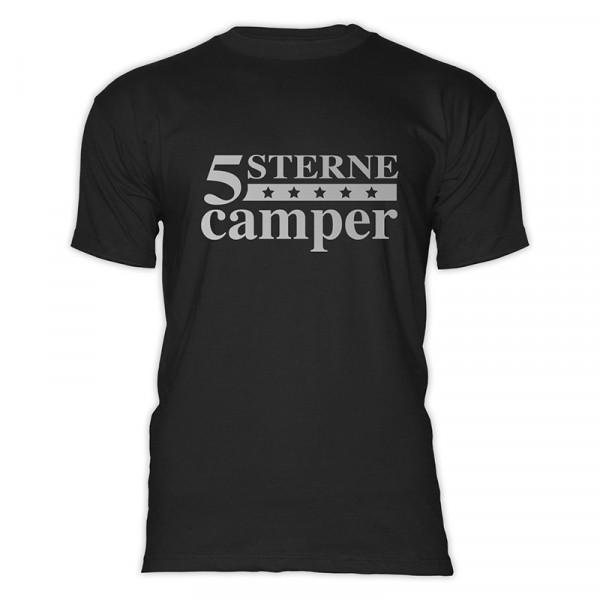 5 STERNE CAMPER - Herren-Camping - T-Shirt - Schwarz - Silber