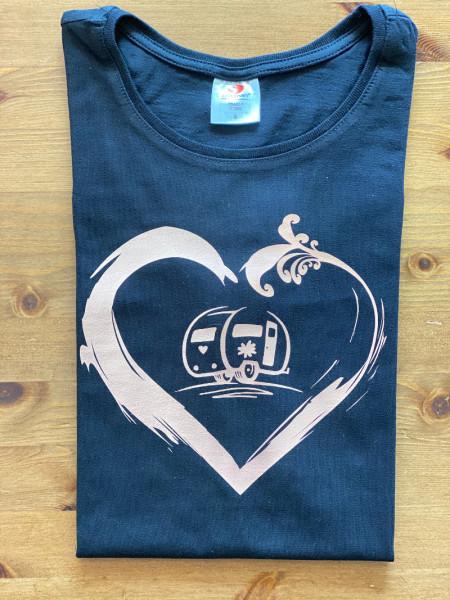 Wohnwagen-Camper mit Herz / Damen Camping-T-Shirt, Anthrazit/Weiß
