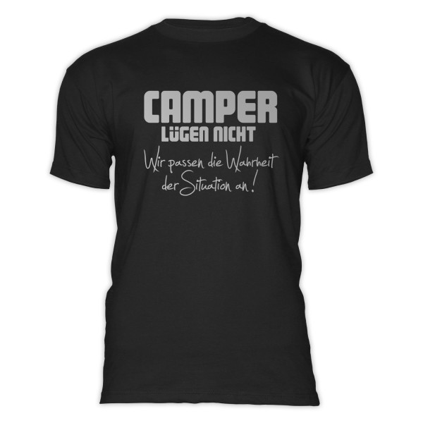 CAMPER LÜGEN NICHT - Herren-Camping-T-Shirt-Schwarz-Silber