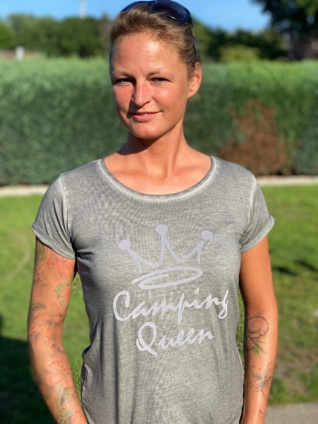 Camping Queen / Damen Camping-T-Shirt - Gray used look
