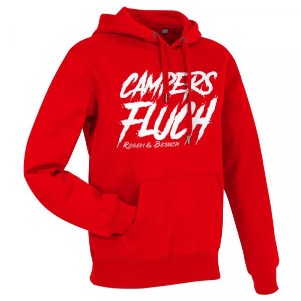 CAMPERS FLUCH - Regen und Besuch - Herren-Camping-Hoody Rot/Weiß-