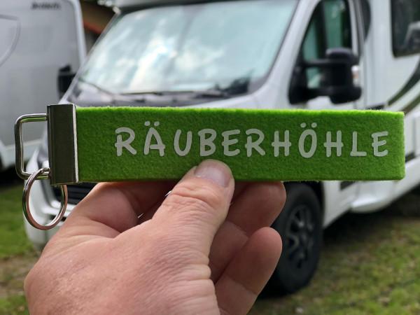 Camping Schlüsselanhänger - Räuberhöhle - Grün