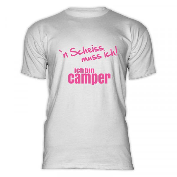 `n Scheiß muss ich! Ich bin Camper-- Herren-Camping-T-Shirt-Schwarz-Pink