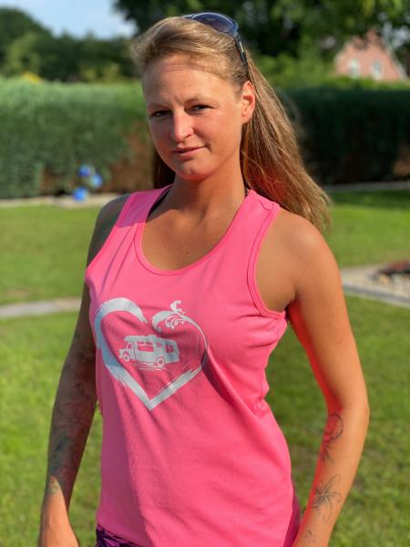 Wohnwagen Camper mit Herz / Damen Camping-Tanktop, pink / Weiß