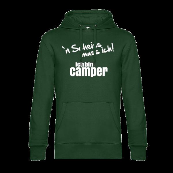 `N Scheiss muss ich! Ich bin Camper - Unser Hoodie für Camper ist die ideale Camping Kleidung. Unsere Hoodies eignen sich für Wohnmobil, Wohnwagen oder Dauercamper. Ideal auch als Geschenk für Camper.