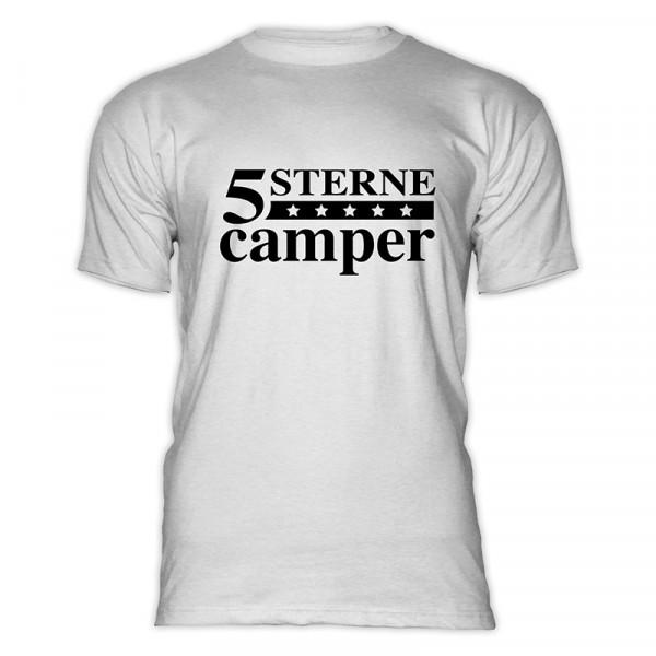 5 STERNE CAMPER - Herren-Camping - T-Shirt - Weiß - Schwarz