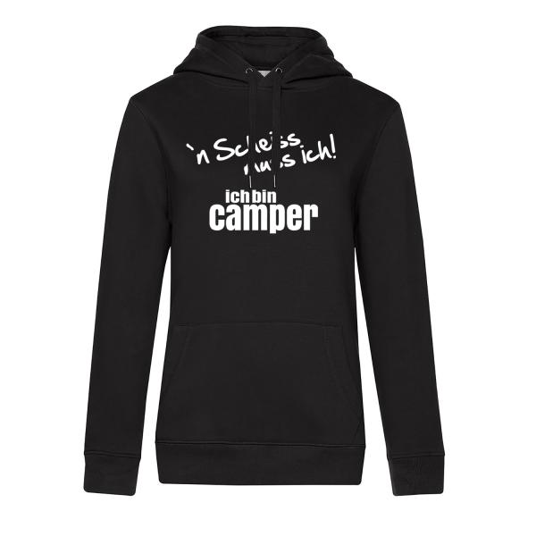 `n Scheiss muss ich! Ich bin Camper - Camping Hoodie für Frauen - Unser Hoodie für Camper ist die ideale Camping Kleidung. Unsere Hoodies eignen sich für Wohnmobil, Wohnwagen oder Dauercamper. Ideal auch als Geschenk für Camper.