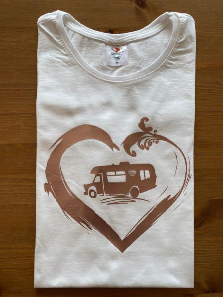 Reisemobil Camper mit Herz / Damen Camping-T-Shirt, Weiß / Kupfer