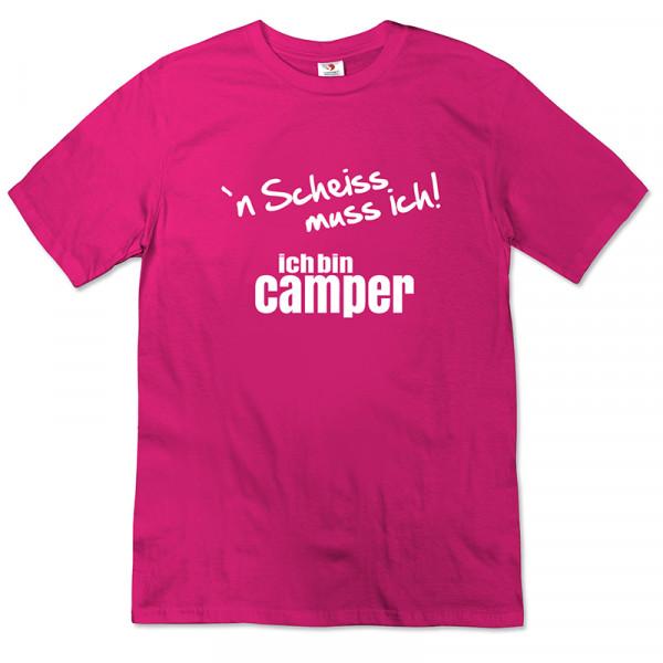 """"""" n scheiss muss ich! Ich bin Camper- Damen - T-Shirt - Pink - Weiß"""